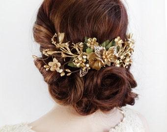 bridal headpiece, gold hair vine, gold wedding headpiece, gold hair clip, gold flower hair comb, wedding hair piece, bridal hair piece