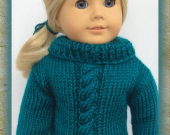 Turtleneck Cable Sweater in Pagoda (Teal) hand Knit For American Girl Dolls!