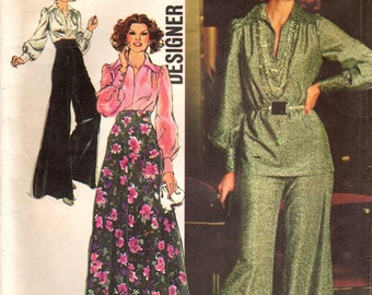 1970s Simplicity 5977 Vintage Sewing Pattern Misses Palazzo Pants, Wide Leg Pants, Evening Skirt, Blouse Size 10 Bust 32-1/2