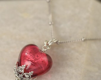 Murano Glass heart necklace pink necklace gifts for her Pink heart necklace
