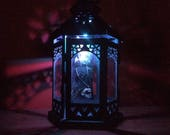 Color Changing Hexagonal Taxidermy Bat Lantern // Real Bat // Oddities // Gothic Decoration // Bat Decoration // Gothic Decor / Curiosities