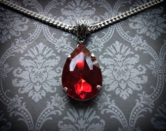 Red Teardrop Necklace - Gothic Necklace - Crystal Teardrop - Gothic Gift - Gothic Jewelry - Red Crystal - Ruby Necklace - Garnet
