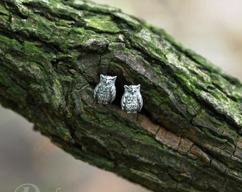 Forest stories - owls - cute little fellows in sterling silver