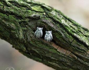 Forest stories - owl earrings - cute little owls, studs in sterling silver, silver owls, tiny owls, cute owl, miniature owls, cute earrings