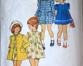 Vintage 70's Simplicity 6182 Sewing Pattern, Child's Dress and Coat, Size 4, Retro 1970's Fashion