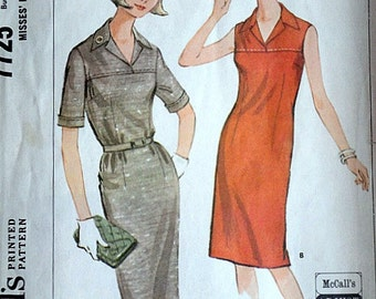 Vintage 60's McCall's 7725 Sewing Pattern, Misses' Shift Dress, Size 12-14, Bust 32-34, Mad Men Mod 1960's Fashion