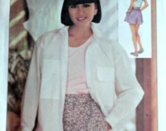 Vintage 80's  6880 Designer Henry Grethel Sewing Pattern, Misses' Shirt, Shorts & Top, Size 19-12-14, Uncut FF, 1980's Fashion