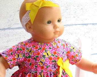 Baby Doll Pink Dress with Matching Headband, Easter Doll Dress, Butterfly Doll Dress