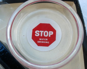 Ashtray or coaster set - Federal Glass Company - funny road signs
