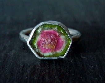 Custom watermelon tourmaline ring / choose your own slice ring / pink and green tourmaline ring / October birthstone / tourmaline jewelry