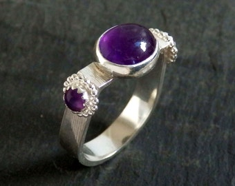 Amethyst gemstone ring / sterling silver ring / February birthstone / purple gemstone ring / amethyst jewelry / boho ring / ready to ship