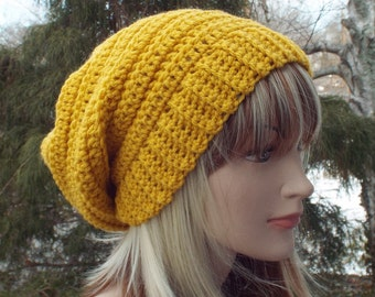 Golden Yellow Crochet Hat, Womens Slouchy Beanie, Boho Slouchy Hat, Oversized Slouch Beanie, Chunky Hat, Winter Hat, Mustard Slouch Hat