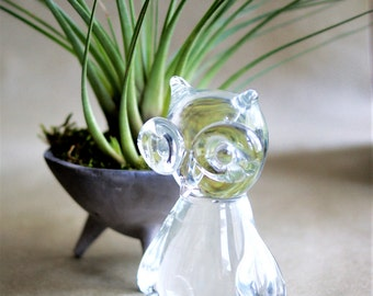 Vintage Glass Owl Figurine from the 1970s Made by Napcoware Taiwan Mod Paperweight