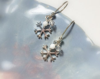 Snowflake Sterling Silver Drop Earrings, .925, Snow and Ice, Winter Accessory, Gifts for her