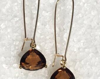 Smokey Topaz Earrings, Crystal Earrings, Glass Earrings, November Birthstone