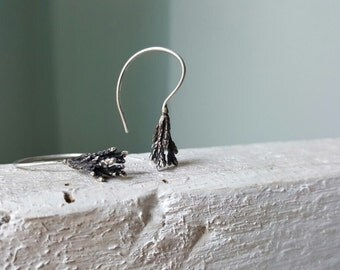 Juniper branch earrings-Sterling silver botanical earrings -Tree branch earrings -Woodland jewelry-Silver twig earring-Fir tree earrings
