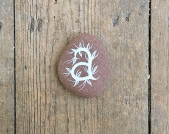 Painted Stone - Letter A - Initial - Hand Lettering - by Natasha Newton