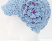 Newsboy Spring Summer crochet hat light blue cotton THE BLUE HAT