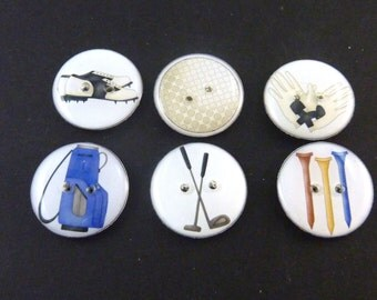 """6 Golf Themed Buttons.  Handmade Buttons.  Golf bag, golf tees, golf ball, shoes, gloves and clubs.  3/4"""" or 20 mm"""