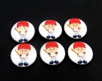 "6 Baseball Buttons.  3/4"" or 20 mm Boy Baseball Player Sewing Buttons. Handmade by Me.  Washer and Dryer Safe."