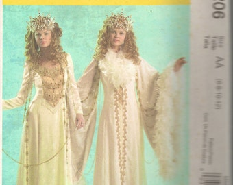 McCalls 5206 Misses Renaissance Snow Queen Costume Pattern Fairy Gown and Robe Womens Sewing Pattern Size 6 8 10 12  Bust 30 - 34 UNCUT