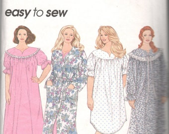 Simplicity 8780 Womens Robe Nightgown 2 Lengths Pattern Plus Size EZ Sewing Pattern Size 18 20 22 24 Bust 40 42 44 46 UNCUT
