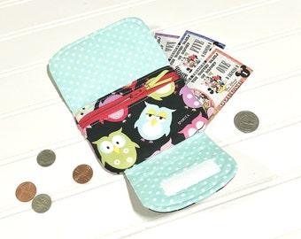 Kids zipper wallet  | Kids wallet | Owls | Zipper pouch | Kids purse | Mini wallet | Wallet |  Zip pocket pouch | Wrist wallet | Wristlet