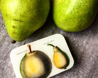 Pear tin large, card case, notions tin