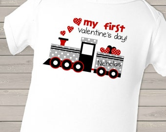 First Valentine's day polka dot train personalized bodysuit or t shirt for a girl or boy VDMFT