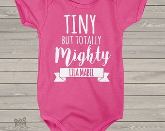 Tiny but totally mighty DARK bodysuit or Tshirt - great new baby welcome gift  MRCSV-001