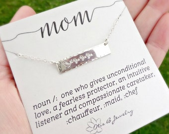 Mama Bird & Chicks hand stamped bar necklace for mom, mothers day gift, pregnancy, sterling silver layering necklace, family, new baby