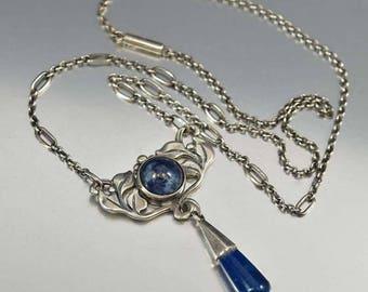 Antique Arts & Crafts Lapis Lazuli Necklace, Sterling Silver Pendant, Circa 1900s Blue Stone Lapis Leaf Necklace, Art Nouveau Necklace