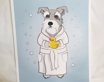 Bubbly Schnauzer - Light Gray - 8x10 Eco-friendly Print