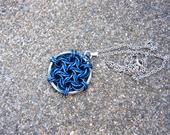 Moorish Rose Spiral Necklace - Blue and Silver Chainmail