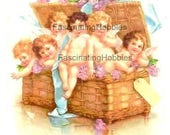 Vintage -Cute CHERUBS, Brown BASKET, blue BOW -1904-Art Nouveau Postcard french written- fair dark curly hair, pink flowers - Good condition