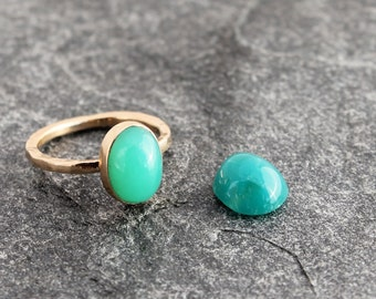 gem silica chrysocolla ring w/ 14k gold or sterling silver, chalcedony, inspiration mine, turquoise blue, choose your metal, custom to order