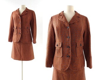Vintage Pendleton Suit | Orange Houndstooth | Skirt Suit | XS