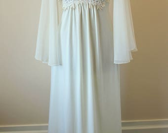 70s cream off-white maxi dress with chiffon angel sleeves M