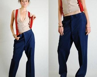 "Mens Trousers Vintage Dark Navy Blue Androgynous Indie Menswear Trouser Pants (32"" waist)"