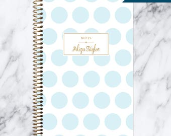 NOTEBOOK personalized journal | lined notebook | personalized gift | stocking stuffer | spiral notebook | blue gold polka dots