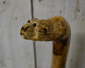 Sumac Walking Cane - Carved Grizzly Bear Cane - Hand Carved walking cane - functional art - ren faire - 1460