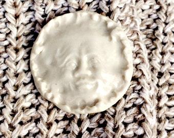 Old Man in the Moon Porcelain Ceramic Button Matte White Porcelain