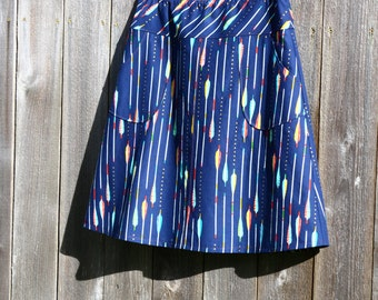 hipster A-Line skirt, Arrows, Native, Simple A-line, Skirt with Pockets, Custom made in all sizes, and lengths