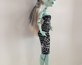 Handmade fits Monster High Ever After Clothes Black Iridescent Silver Spider Web Dress Designs by P D Reneau  (S1505)