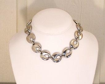 Vintage Silver Link Choker Necklace Modernist Vintage 1970s Flat Link Collar Necklace