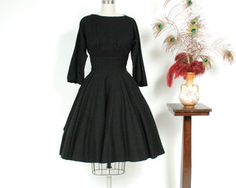Vintage 1950s Dress - Claire McCardell Designer Wasp Waist 50s Wool Day Dress with Gathered Bust, Full Sleeves and Ruched Inset