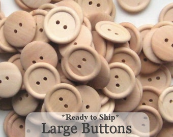 Large Unfinished Wooden Buttons 1 inch, Pack of 100