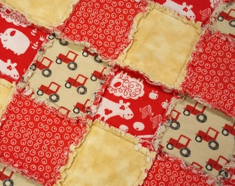 Red Tractor and Farm Animals Flannel Rag Edge Quilt 30in by 40in Handmade for Babies, Toddlers and Kids