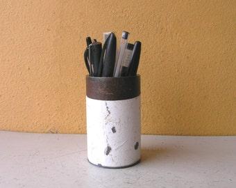Pencil holder for desk Upcycled Metal Pen Stand Makeup Brush Holder Minimalist Desk Organizer Industrial Office Mens Gift Homegoods Storage