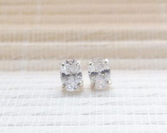 Cubic Zirconia Stud Earrings Sterling Silver April Birthstone 7x5mm